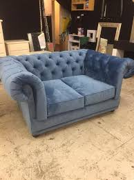 Chesterfield Sofa Bed Blue Soft Crushed Velvet 2 Seater Chesterfield Sofa Bed In