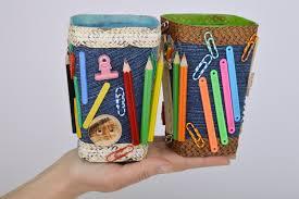 manchette cache pot madeheart u003e pots à crayons en jean faits main décoration pratique