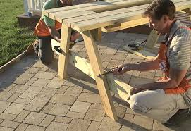 Wooden Picnic Tables With Separate Benches Steps To Build A Picnic Table At The Home Depot