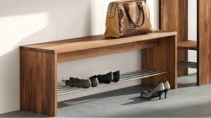 simple styled diy shoe bench made of oak materials and designed