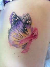 watercolor butterfly with breast cancer ribbon tattoo by laz