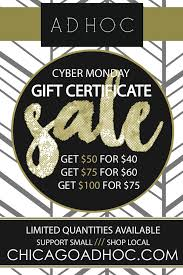 gift card sale cyber monday gift certificate sale ad hoc