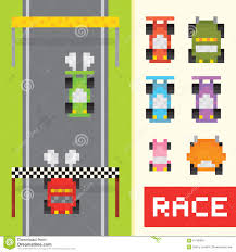 pixel art car race game objects in pixel art style stock vector image 61785992