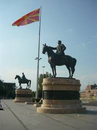 Flag Of Macedonia File Monuments Of Delcev And Gruev Under Macedonian Flag Jpg The