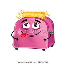 Toaster Face Cute Cartoon Toast Jumping Out Toaster Stock Illustration