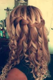 homecoming hair braids instructions love how it s a casual waterfall braid turned into a fancy curly