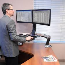 Sit Stand Desk Mount by Stand Up Workstation Workfit A Dual Monitor Desk Ergotron