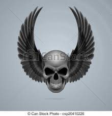 evil skull with wings up evil looking skull with two black