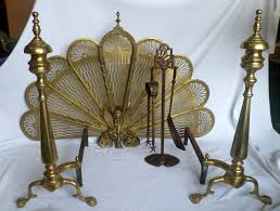 Antique Brass Fireplace Andirons by Vintage Fireplace Set W Brass Andirons Brass Fireplace Screen