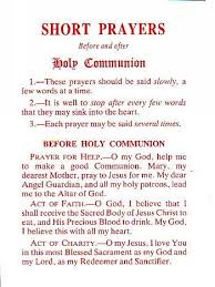 leaflet prayers before and after holy communion x 10