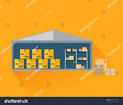 Warehouse Interior by Storage Warehouse Boxes Cut Storage Unit Stock Vector 340129475
