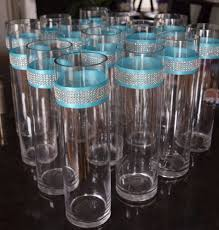 wedding centerpieces rhinestone crystal aqua ribbon cylinder vases