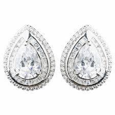 teardrop stud earrings clear large cz teardrop stud earrings 9857