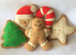 5 large felt christmas cookie ornaments christmas