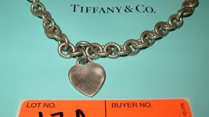 heart charm necklace tiffany images Tiffany co sterling silver link chain choker collar necklace w jpg