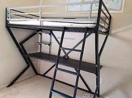 Black Bunk Bed With Desk Black Metal Loft Bunk Bed With Desk Ebay