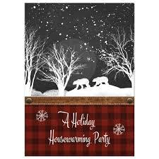 winter housewarming party invitation rustic buffalo plaid