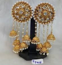 earrings image vardhaman goodwill golden bahubali earrings rs 450 pair id