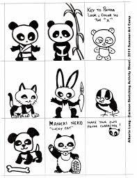 kid sketches drawing cartoon panda characters and sketching page