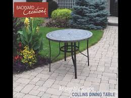 Patio Furniture Assembly Backyard Creations Collins Round Dining Patio Table At Menards