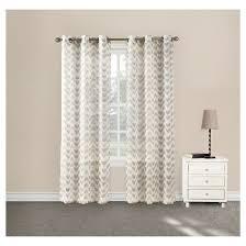 Sheer Grommet Curtains Linda Split Chevron Sheer Grommet Curtain Panel Chevron Almond 40