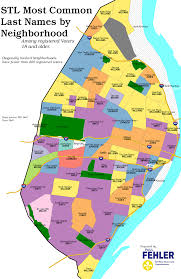 Washington Dc Ward Map by St Louis City Most Common Last Name By Neighborhood Among