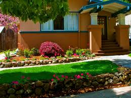 architectures simple front yard landscape with natural stone