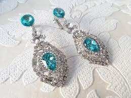 clip on chandelier earrings light turquoise blue vintage style clip on chandelier earrings