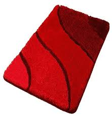 Extra Large Red Rug Plush Washable Red Bathroom Rugs Contemporary Bath Mats
