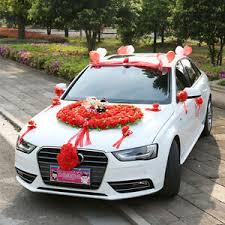 car ribbon flower car wedding car decoration ribbon hello wedding