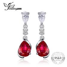 ruby drop earrings aliexpress buy jewelrypalace 2 4ct pear created ruby