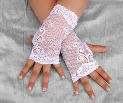 girls fingerless lace gloves flower white toddlers