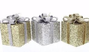 ornaments gold silver glitter gift boxes with