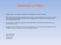 design studio occupational health u0026 safety policy