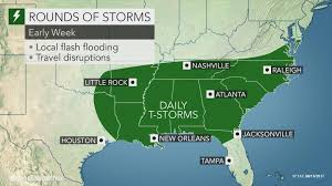 New Orleans Weather Map by Flood Threat To Persist As Downpours Soak Southern Us Into Early Week