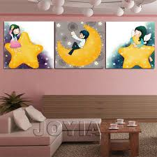 Panel Wall Decor Canvas Painting Kids Room Cartoon Star Moon Art - Canvas paintings for kids rooms