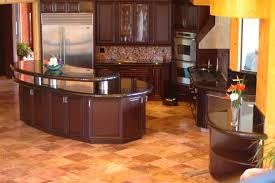 Cherry Wood Kitchen Cabinets With Black Granite Kitchen Awesome L Shape Modern Kitchen Decoration Using Curve