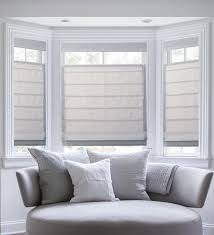 bay window with blinds and curtains window treatments design ideas