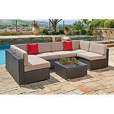 Amazoncom  Reddington Outdoor Patio Furniture Piece Sectional - Patio furniture sofa sets
