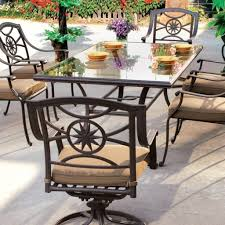 glass top patio table rim clips luxury rectangular glass top metal patio table with cushioned image