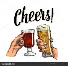 beer cheers cartoon female and male hands holding and clinking with two glasses beer
