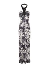 norman dresses norman animal print embellished maxi dress in gray lyst