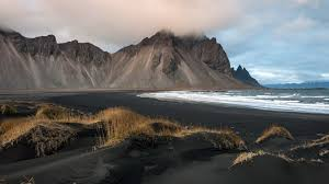 Black Sand 3 5 Beaches Wonderful Black Beach Grass Clouds Mountains Sand Sea