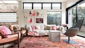 Pink Living Room Chair Pink Living Room With Refined Decor And White Brick Wall