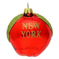 glass big apple new york ornament
