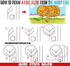 how to draw fall autumn scene from the word