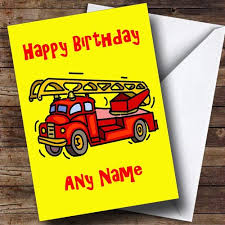 fire engine fireman personalised birthday card the card zoo