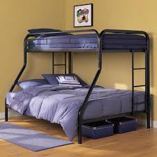 Black Bunk Beds Black Steel Bunk Bed With Blue Bed Sheet Plus Stairs Placed On The