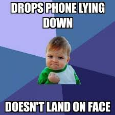 Kid On Phone Meme - success kid drops phone lying down doesn t land on face meme