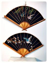 asian fan vintage asian fan decor asian wall fan set cherry blossom bird